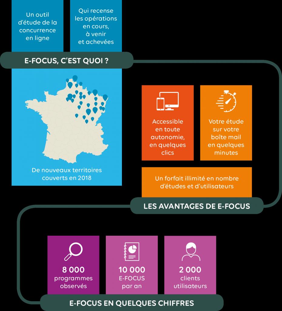 Infographie présentant le service E-FOCUS, 1er service d'études de marché en ligne.